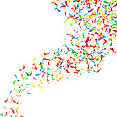Confetti Falling Vector. Bright Explosion Isolated On White. Background For