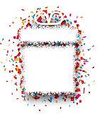 Confetti gift celebration background.