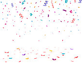 Confetti isolated on transparent background.