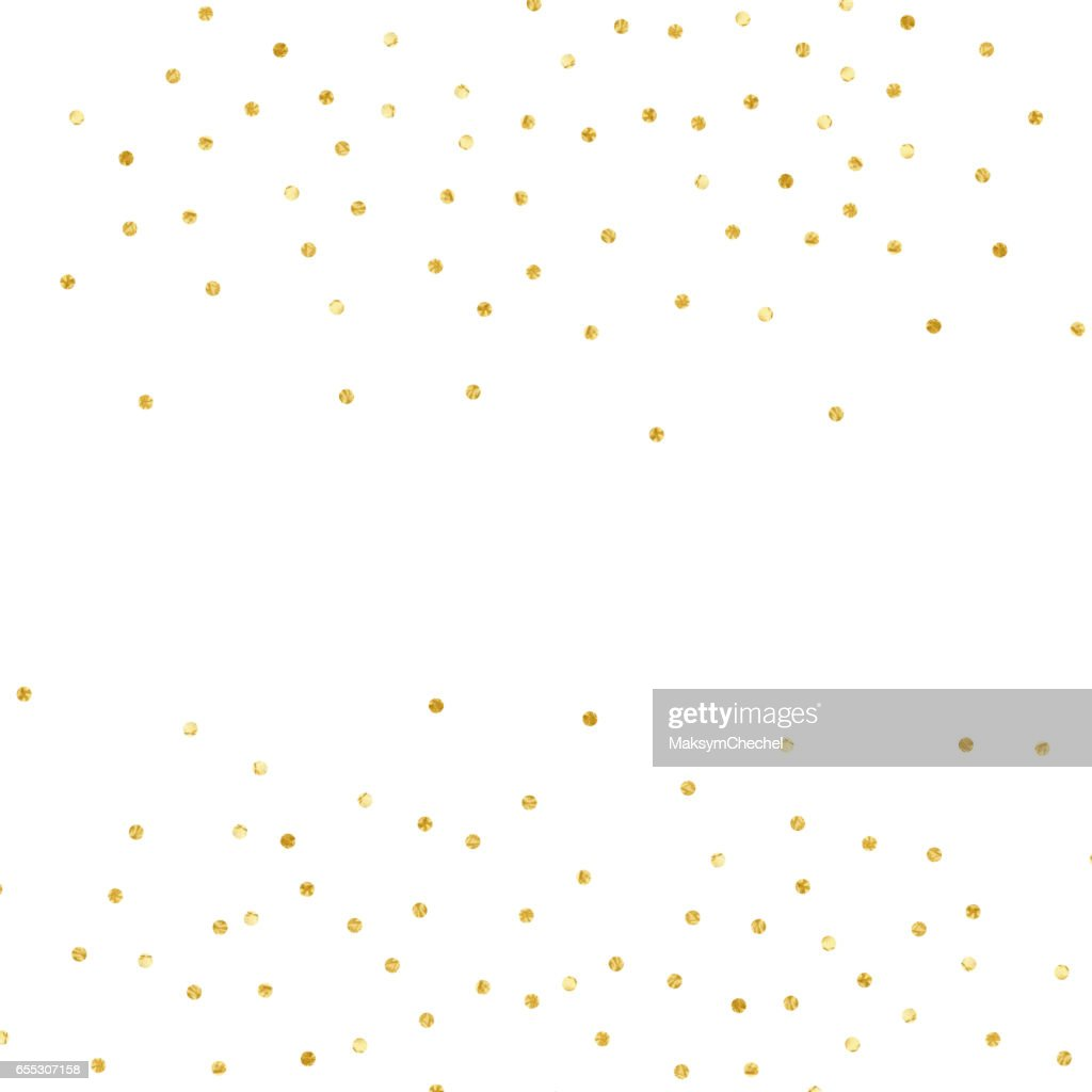 Confetti Polka Dot. Gold textured dots isolated