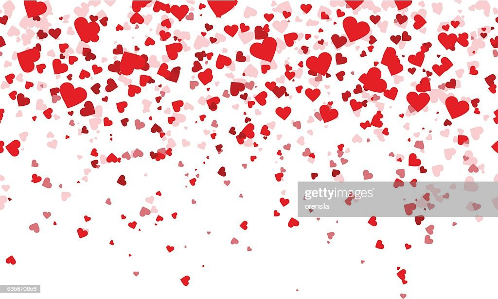 Confetti red hearts fall background