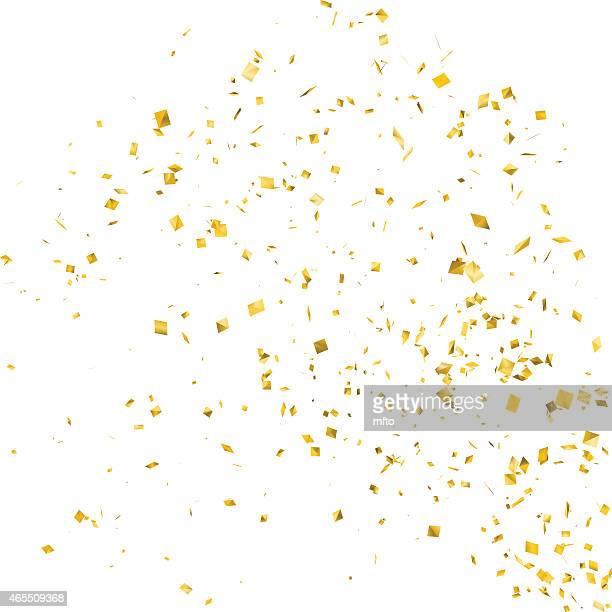 ilustraciones, imágenes clip art, dibujos animados e iconos de stock de confeti - gold colored