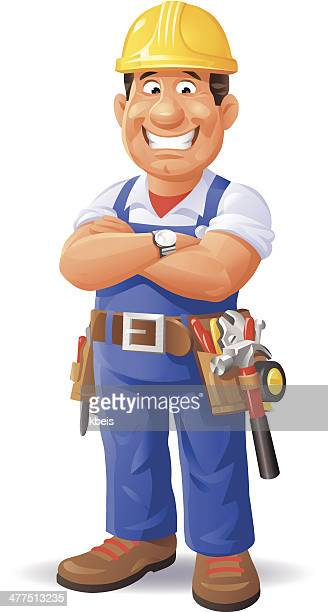 confident construction worker - carpentry stock illustrations