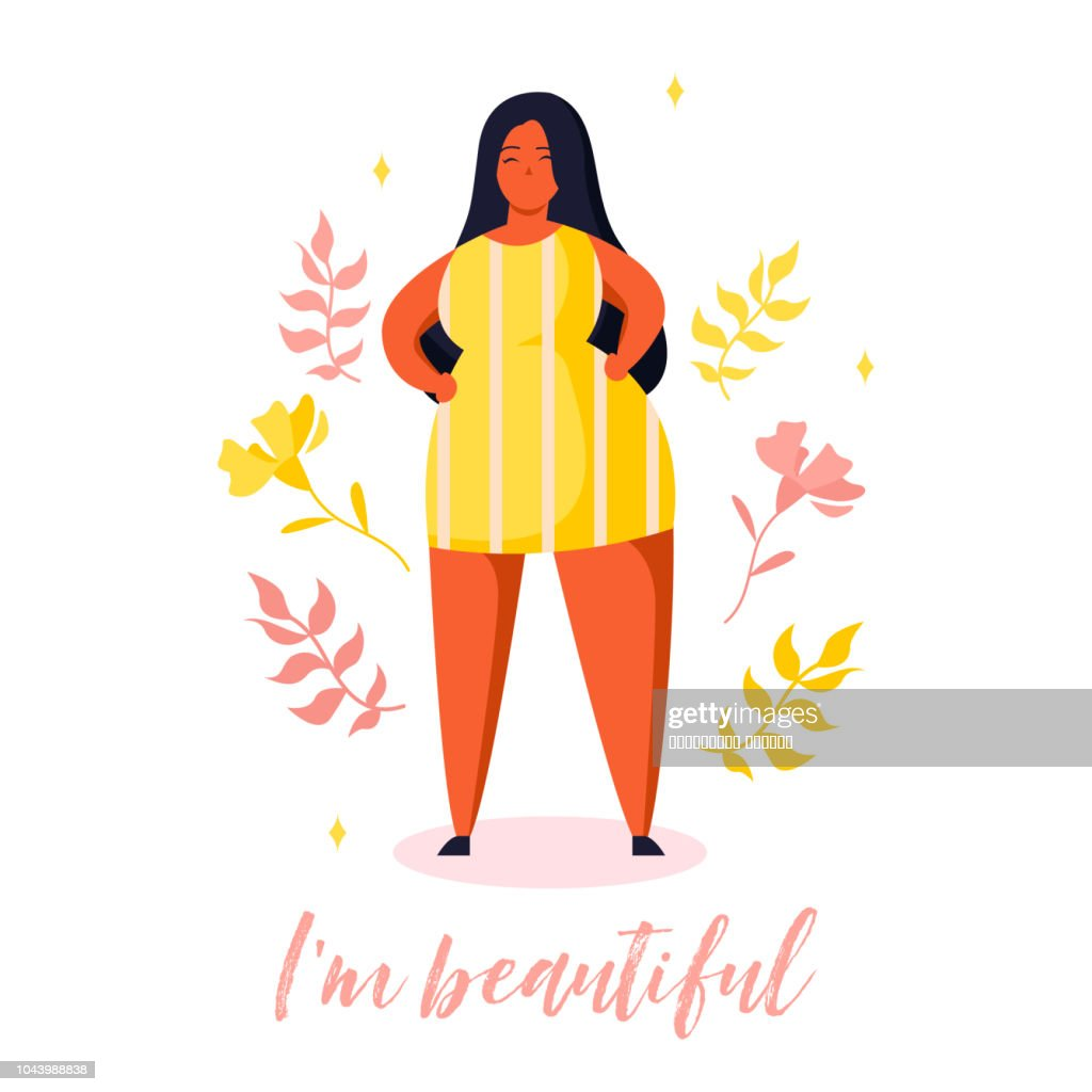 Confident  plus size girl. Body positive card with plants and lettering in trendy flat style. Text i'm beautiful