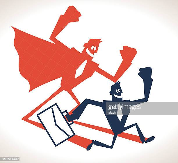Confident strong businessman and super hero shadow, running with briefcase