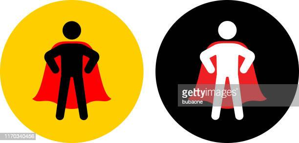 confident superhero with cape standing icon - heroes stock illustrations