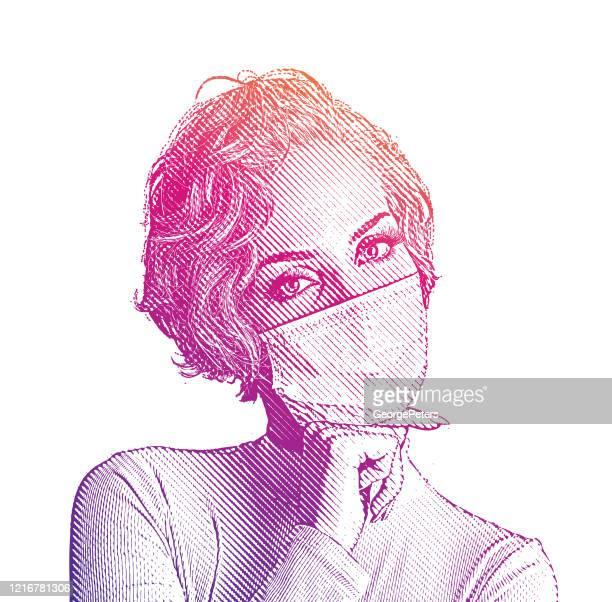 ilustrações, clipart, desenhos animados e ícones de mulher confiante olhando na moda em máscara facial - female surgeon mask