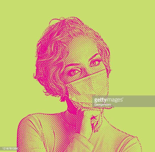 zuversichtliche frau sieht modisch in gesichtsmaske - mundschutz stock-grafiken, -clipart, -cartoons und -symbole