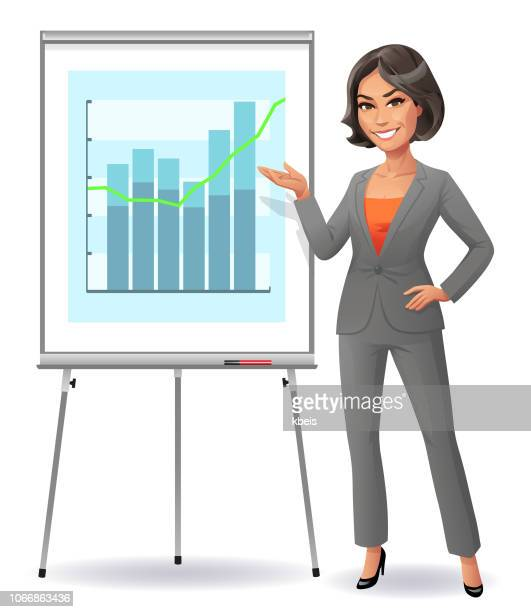 confident young businesswoman standing at flipchart - lutin stock illustrations