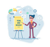 Confident young man is standing near flip chart and pointing graph and diagram. Year end review business concept. Vector illustration. Flat design