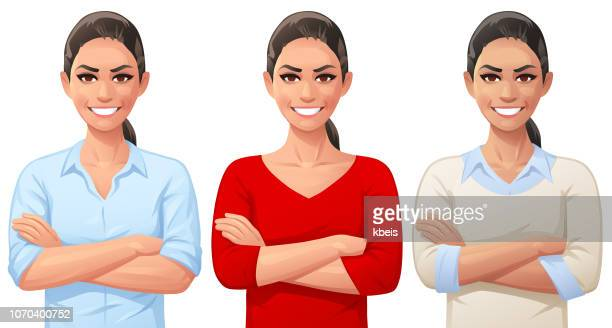 confident young woman with arms crossed - beautiful woman stock illustrations