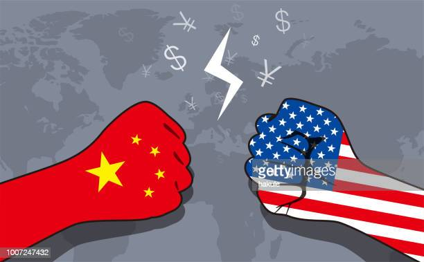 conflict between us and china, business war - conflict stock illustrations