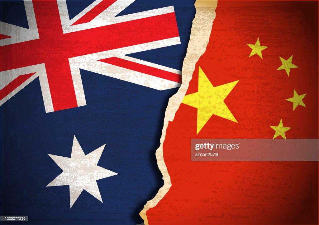 Concetto di conflitto della bandiera di Australia e Cina : Illustrazione stock