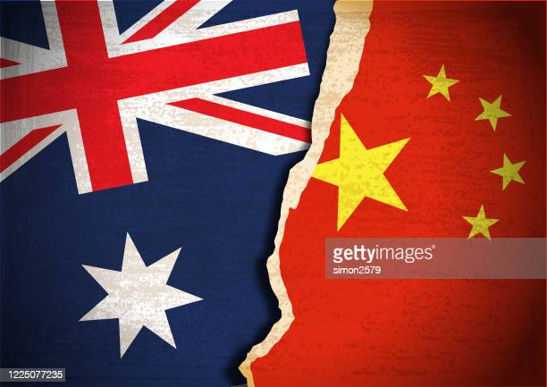 conflict concept of australia and china flag - australian politics stock illustrations
