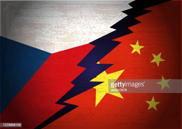 チェコ共和国と中国旗の紛争概念 - チェコ点のイラスト素材/クリップアート素材/マンガ素材/アイコン素材