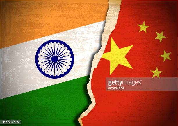 conflict concept of india and china flag - china politics stock illustrations