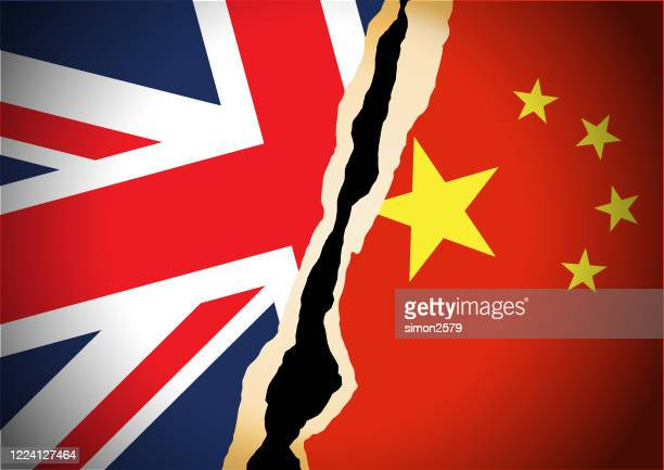 conflict concept of uk and china flag background - all european flags stock illustrations