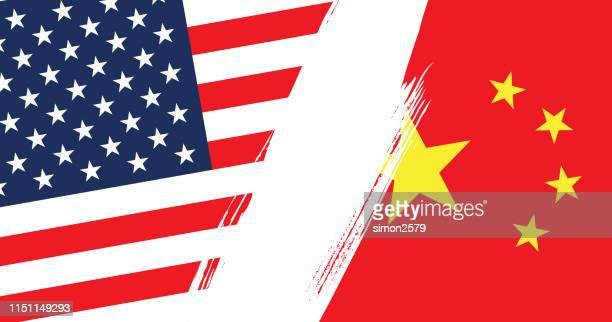 illustrazioni stock, clip art, cartoni animati e icone di tendenza di concetto di conflitto della bandiera di usa e cina - dazio