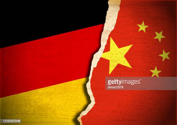 conflict concept with flag of germany and china on grunge textured background - diplomacy stock illustrations