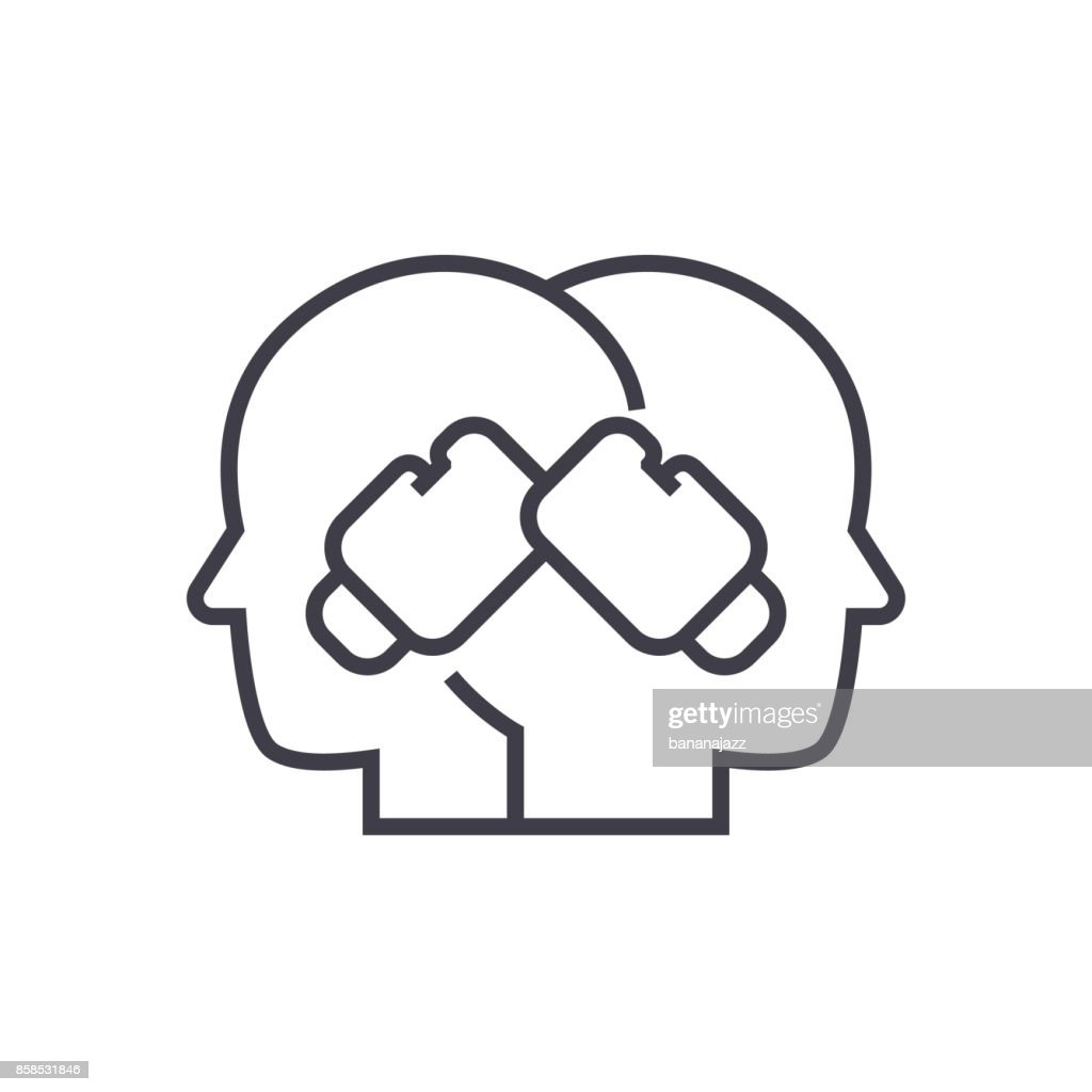 conflict illustration, boxing in heads vector line icon, sign, illustration on background, editable strokes