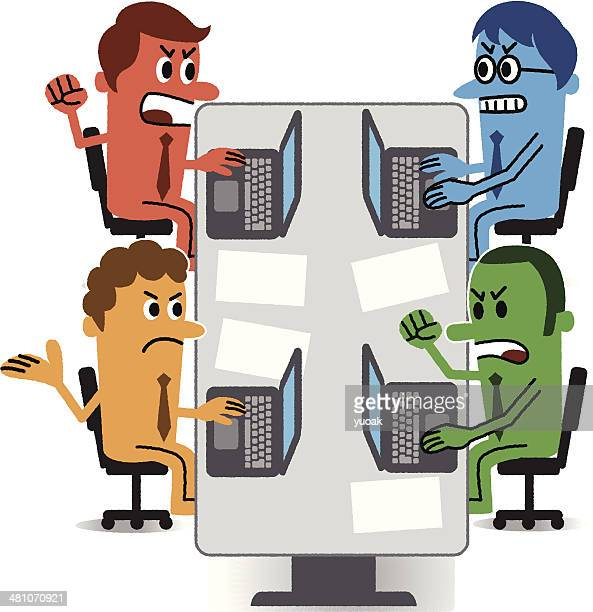 conflict - office fight stock illustrations, clip art, cartoons, & icons