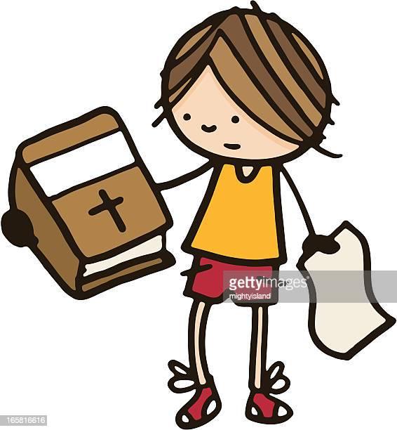 ilustraciones, imágenes clip art, dibujos animados e iconos de stock de confundida boy sostiene una biblia - personas leyendo la biblia