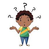 Confused boy, shrugging shoulders
