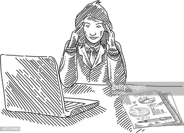 Confused Business Woman Drawing