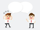 confused businessman talking and discussion with partnership or customer