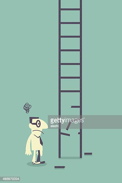 Confused businessman with broken ladder