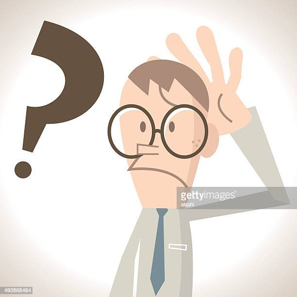 Verwirrt Geschäftsmann mit Geste auf dem Kopf, Fragezeichen