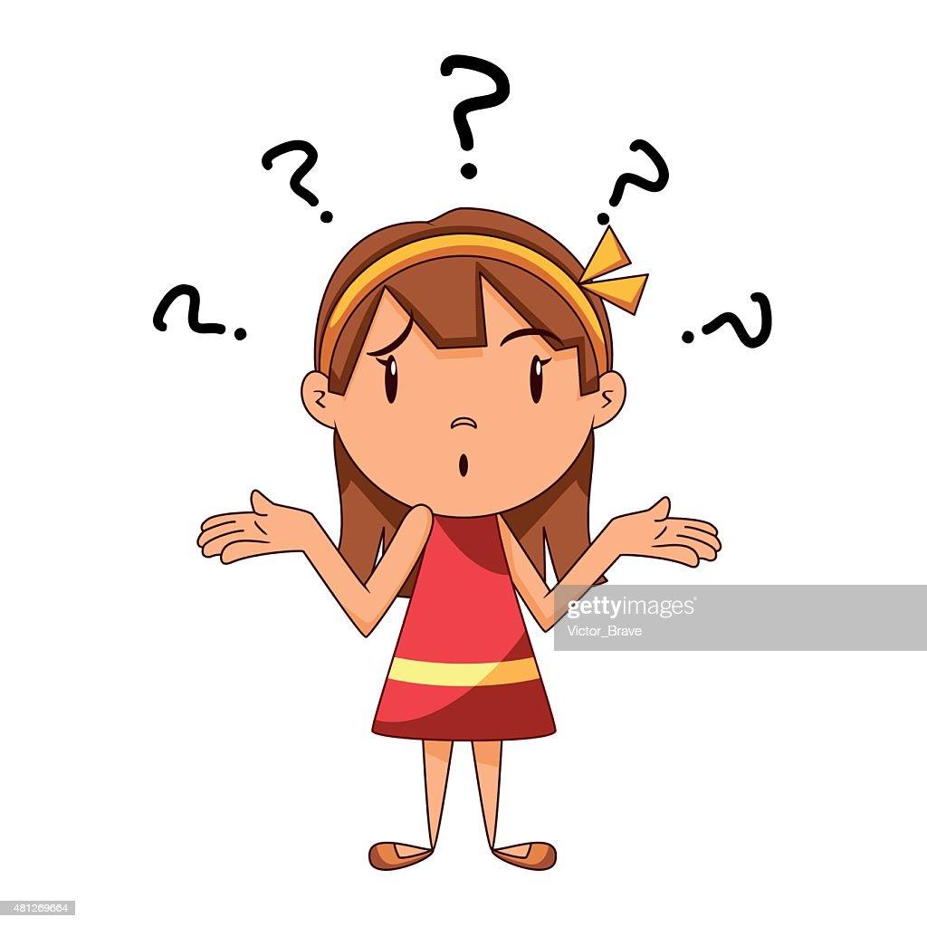 Confused girl, shrugging shoulders