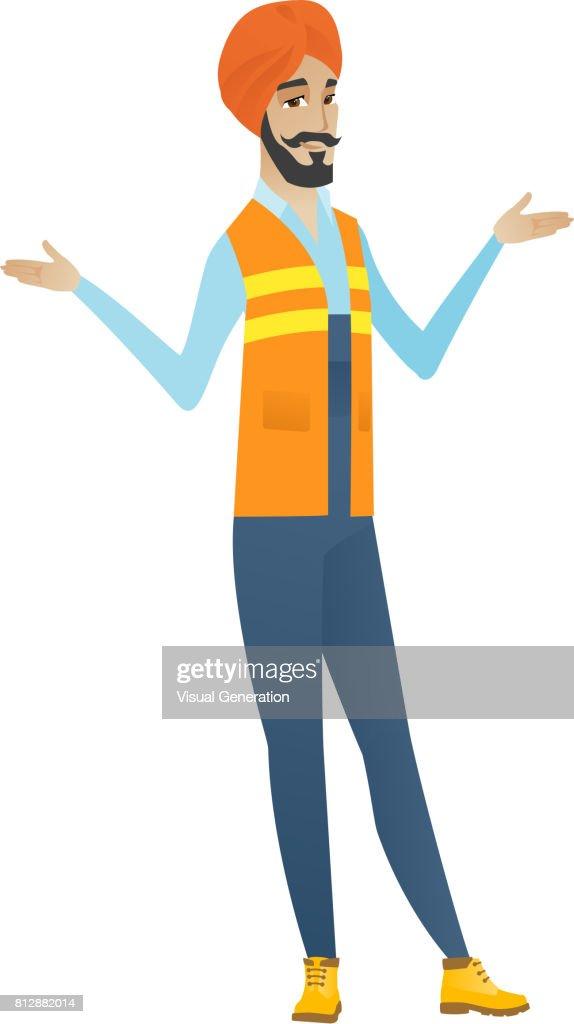 Confused hindu builder with spread arms