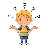 Confused kid, shrugging shoulders