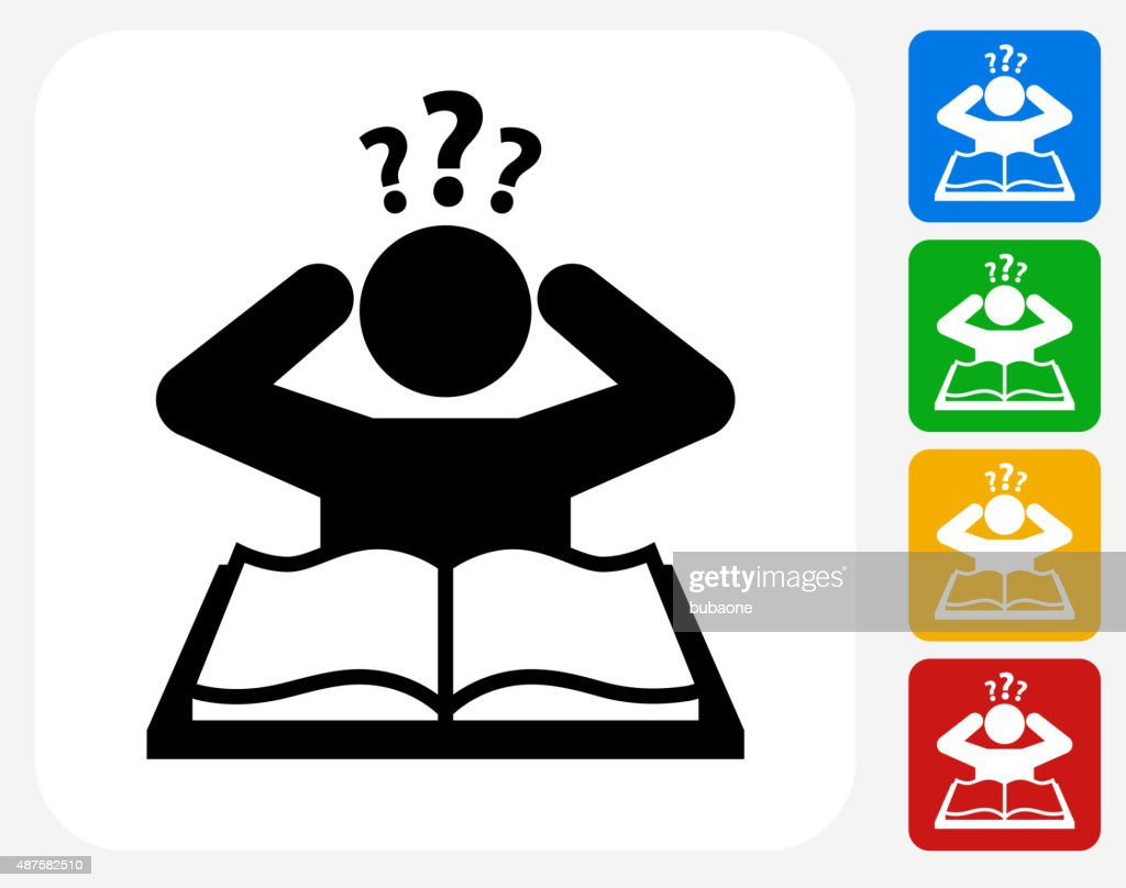 Confused Learning Icon Flat Graphic Design : stock illustration