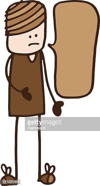 confused man in brown with speech bubble - run down stock illustrations, clip art, cartoons, & icons