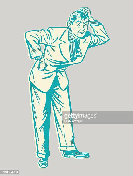 confused man - confusion stock illustrations, clip art, cartoons, & icons