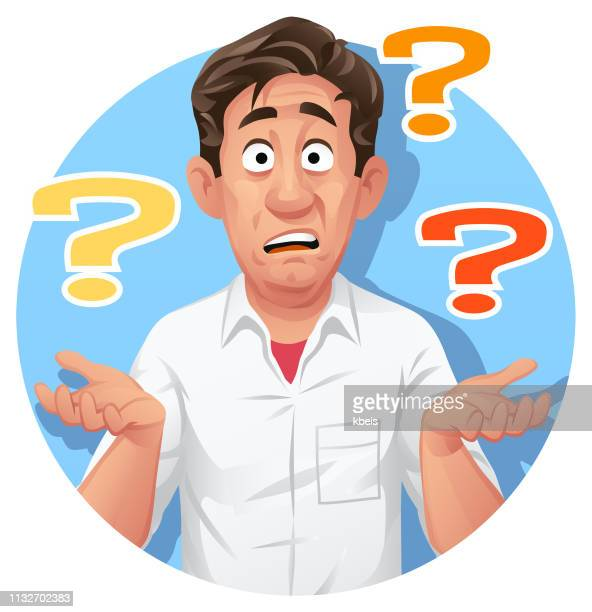 confused man with questions - shrugging stock illustrations, clip art, cartoons, & icons