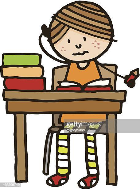 Confused school girl sat at desk with homework and books
