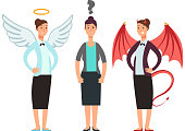 Confused woman with angel and devil over shoulders. Business ethics vector concept