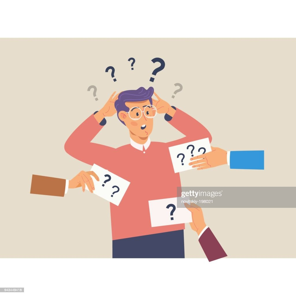 Confusing cute man with question marks above his head.Flat vector illustration
