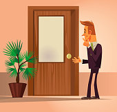 Confusion office worker man character standing near closed door and thinking
