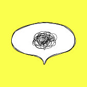 Confusion. Speech bubble with tangled thoughts. Hand drawn speech bubble in comic style.