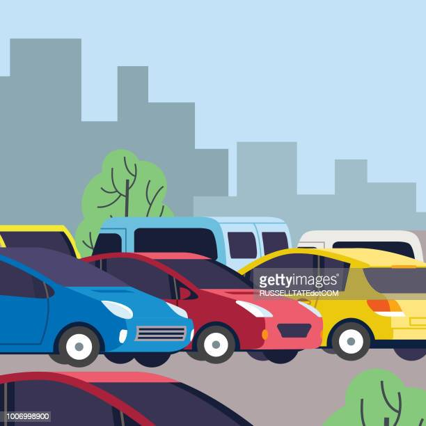 congested parking lot - parking stock illustrations, clip art, cartoons, & icons