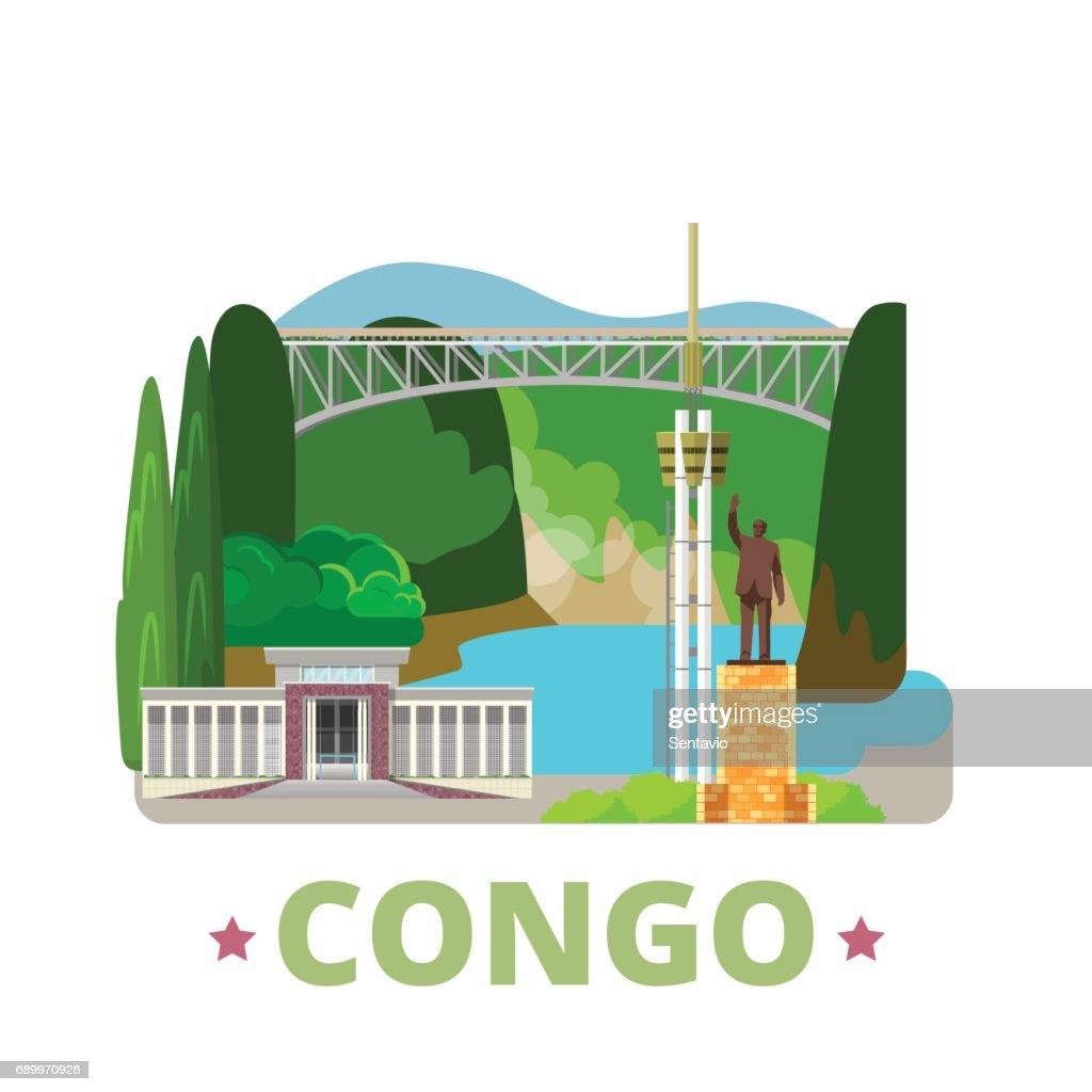 Congo country design template. Flat cartoon style historic sight web site vector illustration. World vacation travel Africa collection. Livingstone Falls University Kinshasa Monument Patrice Lumumba.