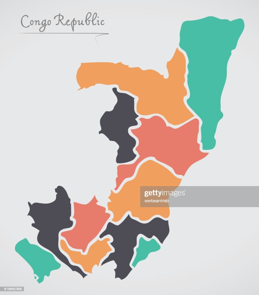 Congo republic map with states and modern round shapes vector art congo republic map with states and modern round shapes vector art gumiabroncs Choice Image