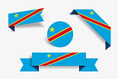 Congolese flag stickers and labels. Vector illustration.