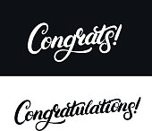 Congrats and Congratulations hand written lettering for card, greeting card, invitation, poster and print