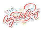 Congrats card. Hand lettering