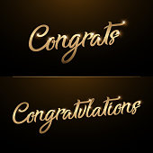 Congrats, Congratulations. Calligraphy lettering. Handwritten phrase with gold text on dark background